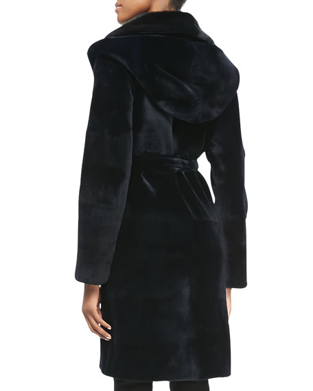 Mink Fur Hooded Tie-Waist Coat