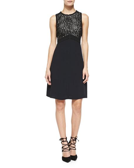 A.L.C. Varney Sleeveless Floral Lace-Bodice Dress