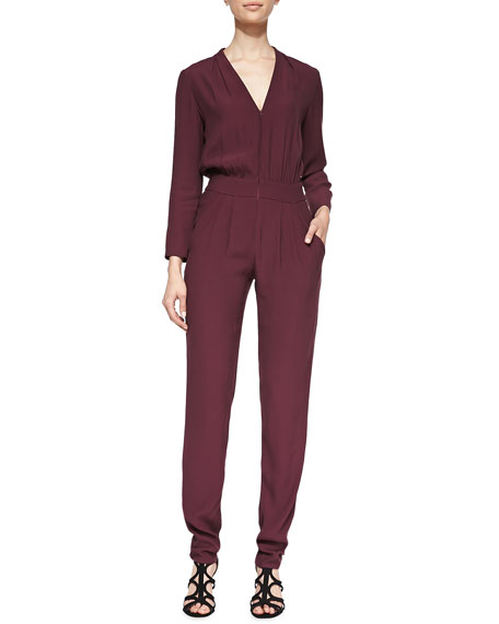 Long-Sleeve Pleated Zip-Front Jumpsuit