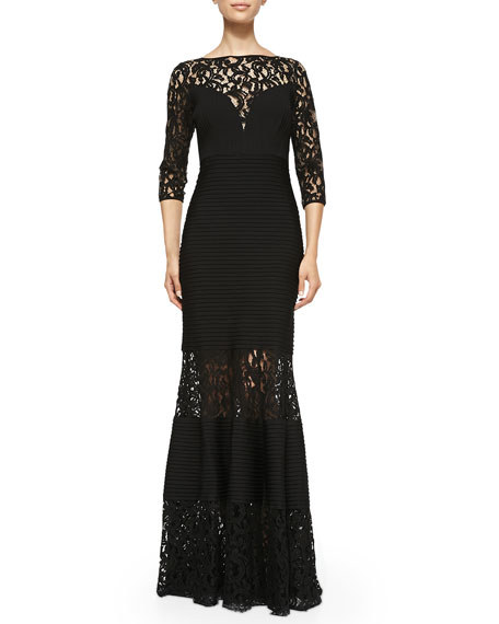 3/4-Sleeve Gown W/ lace Insets