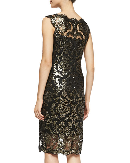 Metallic Lace Overlay Cocktail Sheath Dress