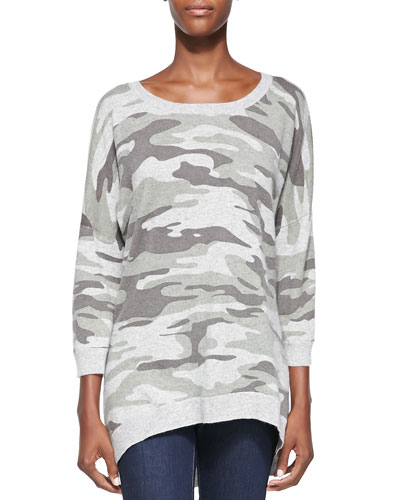Sofia Cashmere Camouflage Cashmere High-Low Pullover