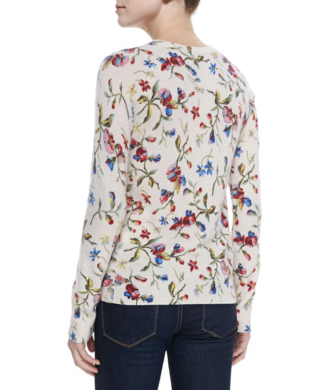Equipment Cashmere Sloane Floral-Print Sweater