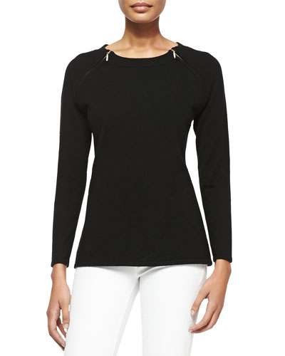 Sofia Cashmere Cashmere Pullover Sweater with Shoulder Zips