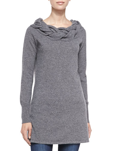 Sofia Cashmere Braided-Neck Cashmere Sweater, Grey