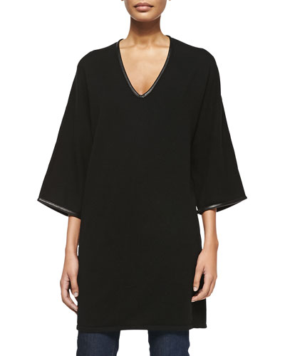Sofia Cashmere 3/4-Sleeve Cashmere Tunic Sweater with Leather Trim, Black