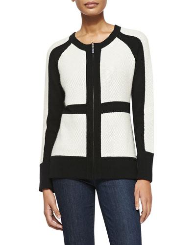 Sofia Cashmere Color Patch Zip-Front Cashmere Cardigan