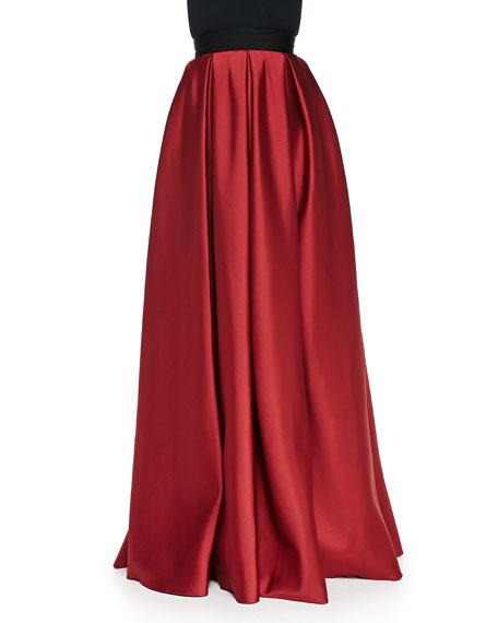 Satin Pleated Ball Skirt with Pockets, Crimson