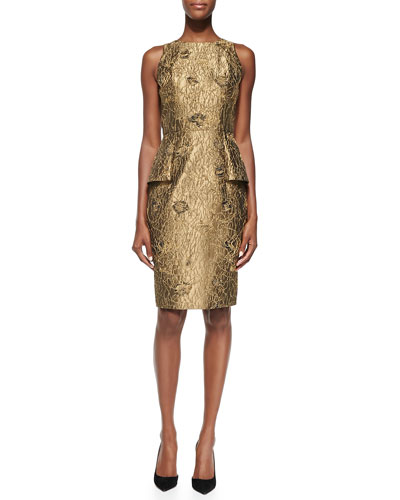 Carmen Marc Valvo Sleeveless Metallic Cocktail Dress W/ Peplum