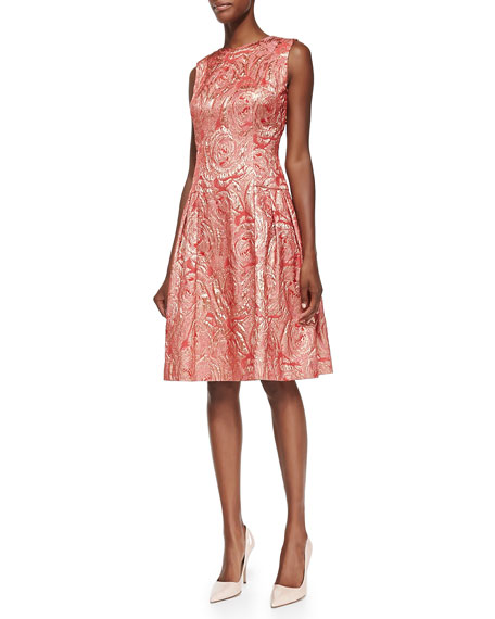 Sleeveless Metallic Swirl Cocktail Dress