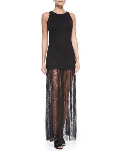 Karina Grimaldi Sofia Lace-Skirt Maxi Dress