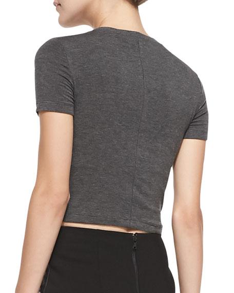 Short-Sleeve Crewneck Crop Top