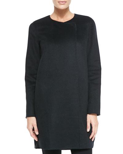 Neiman Marcus Curved-Hem Cashmere Coat
