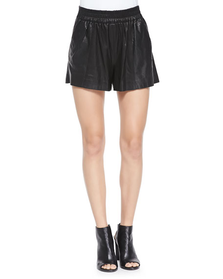 Leather Pull-On Shorts