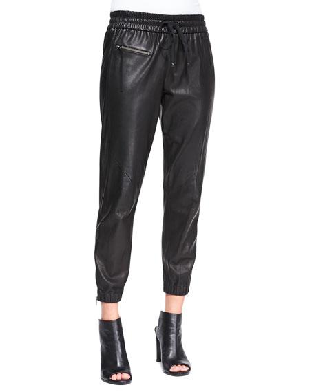 Drawstring-Waist Leather Track Pants
