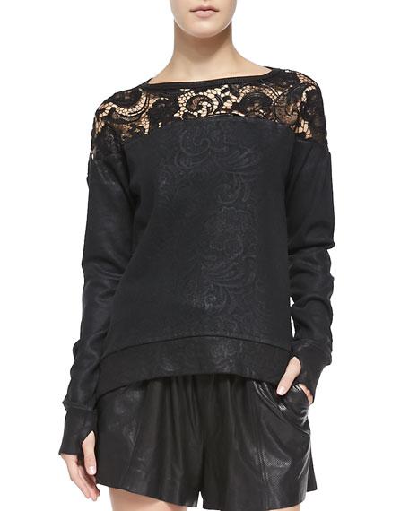 Coated Lace Sweatshirt W/ Thumb Holes