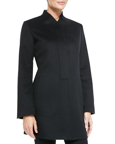 Neiman Marcus Double-Woven Cashmere Coat, Black/Cafe