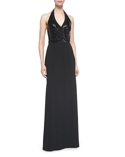 Sequined-Bodice Halter Gown