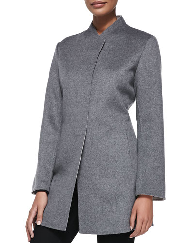 Neiman Marcus Double-Woven Button-Front Cashmere Coat, Flannel/Bone