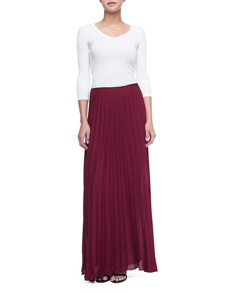 Pleated Chiffon Maxi Skirt, Wine