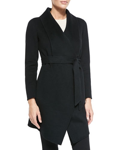 Neiman Marcus Double-Woven Cashmere Draped Coat, Black