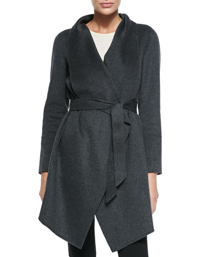 Neiman Marcus Double-Woven Cashmere Draped Coat, Charcoal