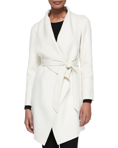 Neiman Marcus Double-Woven Cashmere Draped Coat, White