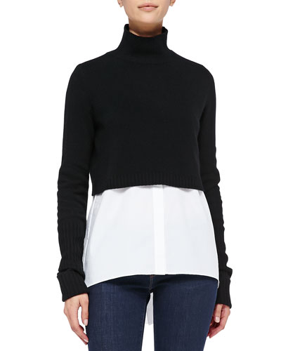 Elie Tahari Raleigh Cropped Mock-Neck Sweater
