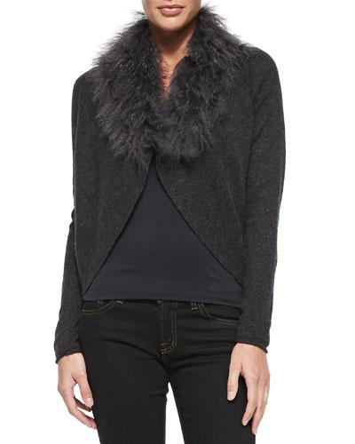 Elie Tahari Lana Faux-Fur Cashmere Cardigan Sweater