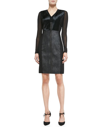 Elie Tahari Lane Combo Calf Hair & Leather Sheath Dress