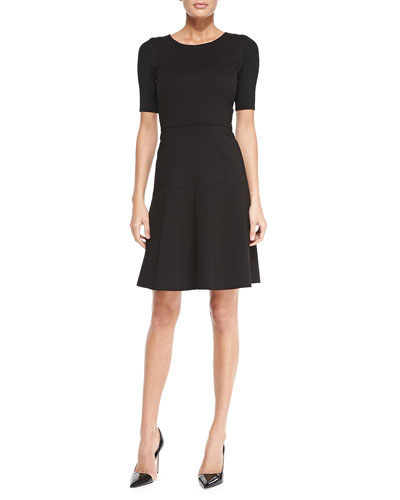 Elie Tahari Maria Fit-and-Flare Short-Sleeve Dress, Black