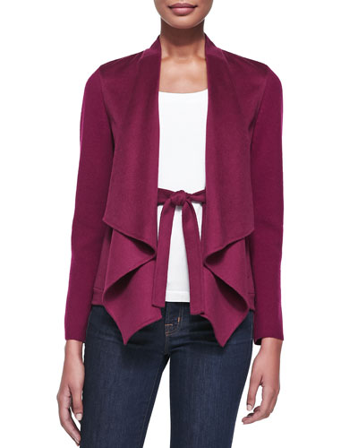 Neiman Marcus Draped & Belted Cashmere Cardigan, Mulberry