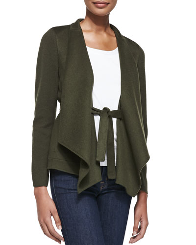 Neiman Marcus Draped & Belted Cashmere Cardigan, Loden