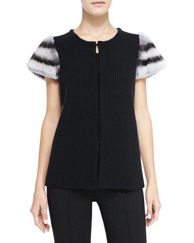 Neiman Marcus Fur-Shoulder Cashmere Cardigan