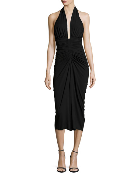 Halter Ruched Jersey Dress