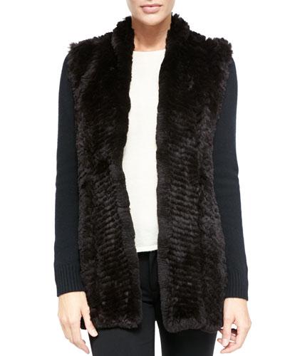 Neiman Marcus Fur Front Cashmere Cardigan