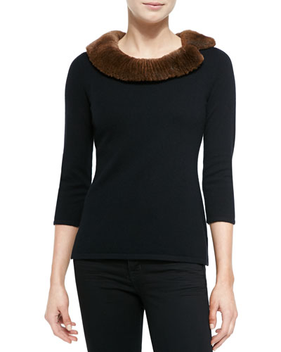 Neiman Marcus Fur-Neck Cashmere Top