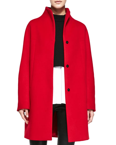 Dalia Double-Face Wool Coat, Ruby