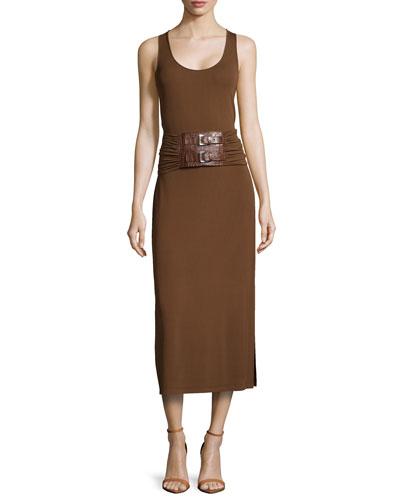 Belted A-Line Jersey Tank Dress, Nutmeg