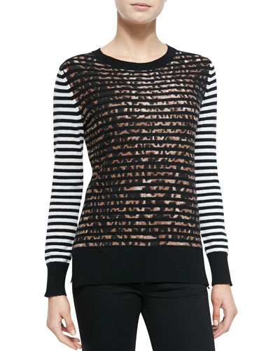 Neiman Marcus Jaguar Striped Cashmere Top