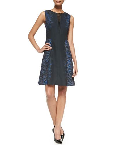 T Tahari Micah Printed Fit-&-Flare Dress