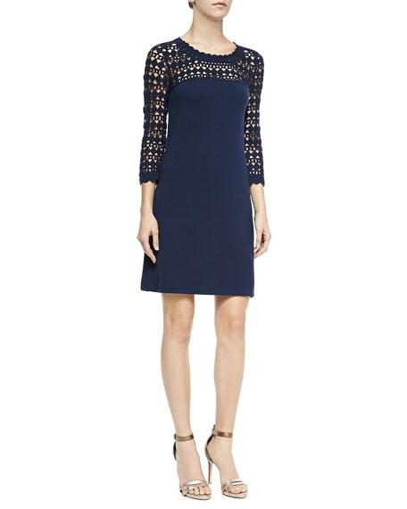 Kariana Wool Crochet Dress, True Navy