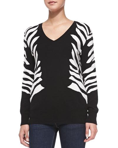 Neiman Marcus Zebra Intarsia V-Neck Cashmere Sweater