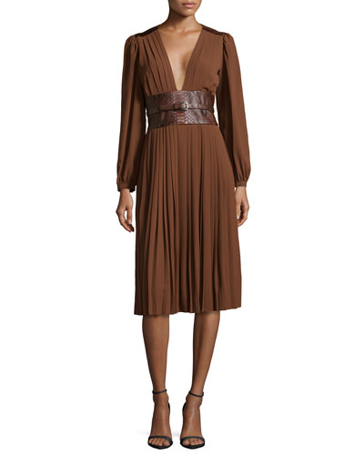 Pleated Dress with Embossed Belt, Nutmeg
