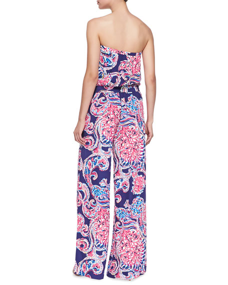 Farrah Printed Strapless Jumpsuit