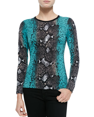 Neiman Marcus Python-Print Cashmere Top, Teal