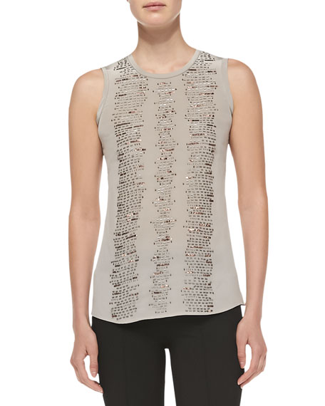 Entertainer Sequined-Front Tank