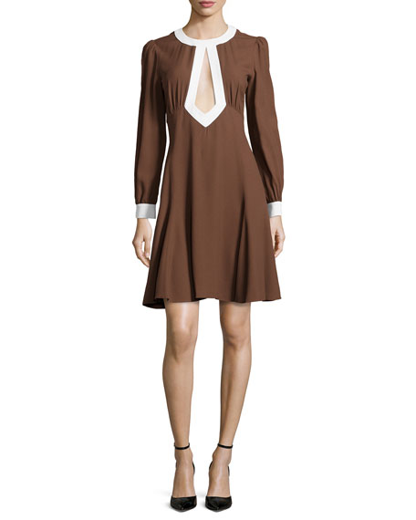 Long-Sleeve Cady Cutout Mini Dress, Nutmeg