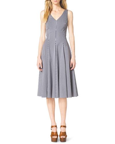 Michael Kors Ginghman Check Sleeveless A-Line Dress