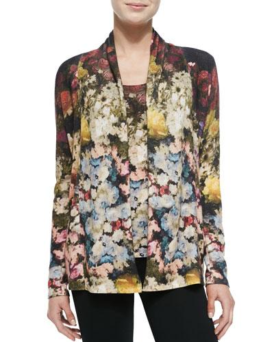 Neiman Marcus Floral Romance Cashmere Cardigan